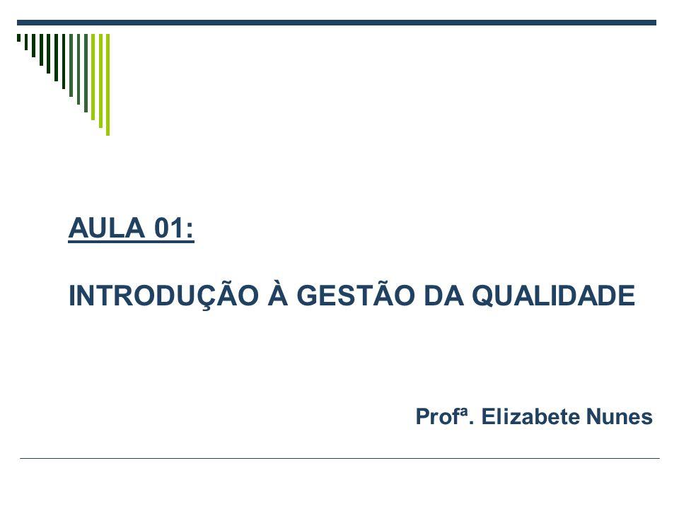 Profª. Elizabete Nunes AULA 01: INTRODUÇÃO À GESTÃO DA QUALIDADE