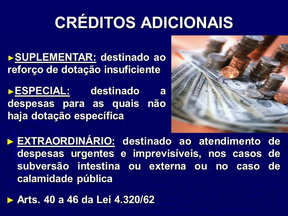 CRÉDITOS ADICIONAIS EXTRAORDINÁRIO: destinado ao atendimento de despesas urgentes e imprevisíveis, nos casos de subversão intestina ou externa ou no c