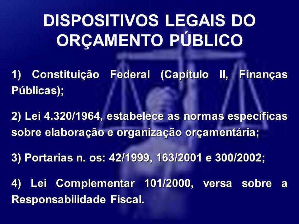 1) Constituição Federal (Capítulo II, Finanças Públicas); 2) Lei 4.320/1964, estabelece as normas específicas sobre elaboração e organização orçamentá