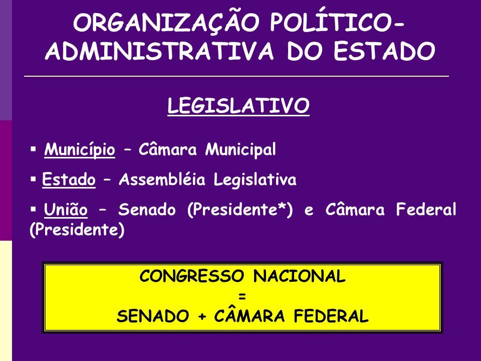 Município – Câmara Municipal Estado – Assembléia Legislativa União – Senado (Presidente*) e Câmara Federal (Presidente) LEGISLATIVO ORGANIZAÇÃO POLÍTICO- ADMINISTRATIVA DO ESTADO CONGRESSO NACIONAL = SENADO + CÂMARA FEDERAL