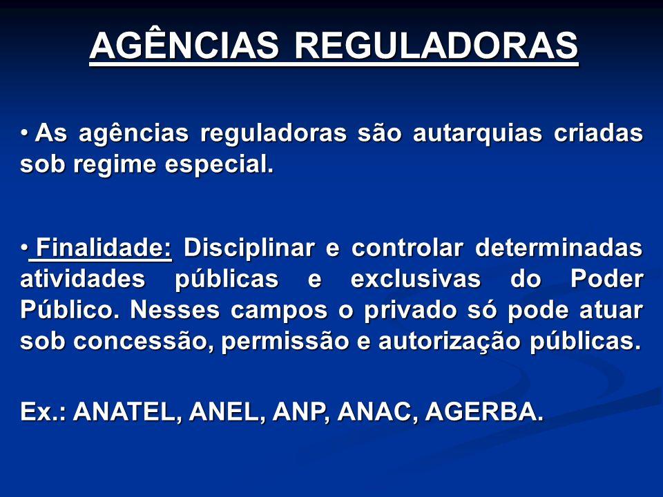 Finalidade: Disciplinar e controlar determinadas atividades públicas e exclusivas do Poder Público. Nesses campos o privado só pode atuar sob concessã