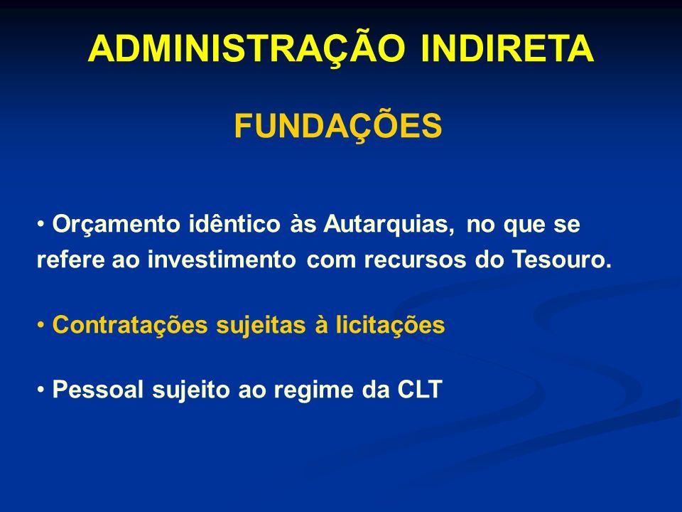 ADMINISTRAÇÃO INDIRETA FUNDAÇÕES Orçamento idêntico às Autarquias, no que se refere ao investimento com recursos do Tesouro. Contratações sujeitas à l
