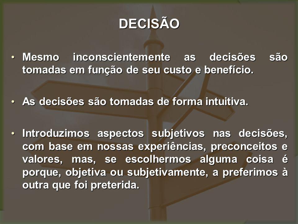 ANÁLISE DE DECISÃO Qualquer processo decisório, seja pessoal do indivíduo ou na organização, ocupa-se da descoberta e seleção de alternativas satisfatórias.