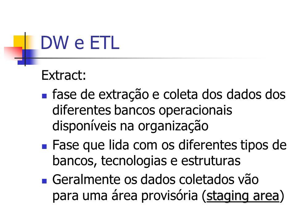 DW e ETL Extract: fase de extração e coleta dos dados dos diferentes bancos operacionais disponíveis na organização Fase que lida com os diferentes ti