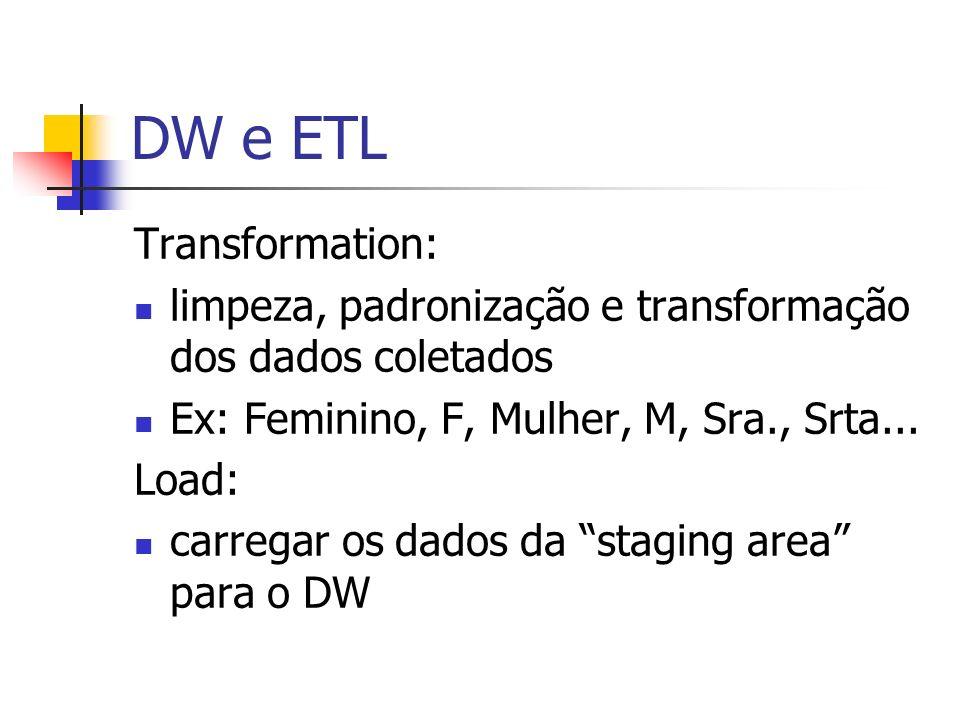 DW e ETL Transformation: limpeza, padronização e transformação dos dados coletados Ex: Feminino, F, Mulher, M, Sra., Srta... Load: carregar os dados d