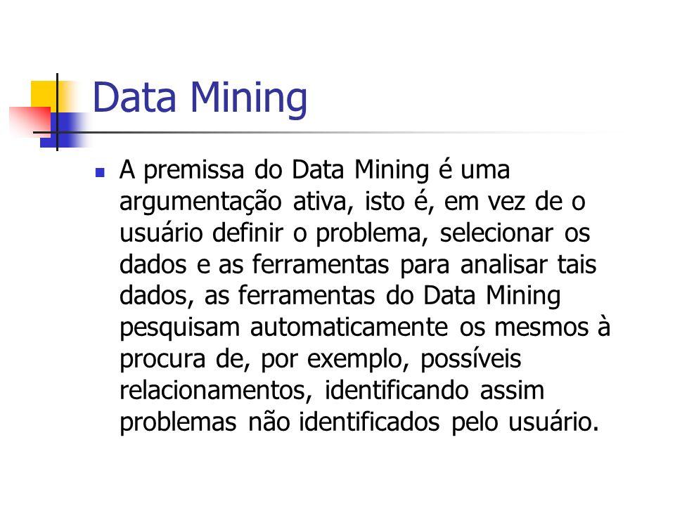 Data Mining A premissa do Data Mining é uma argumentação ativa, isto é, em vez de o usuário definir o problema, selecionar os dados e as ferramentas p