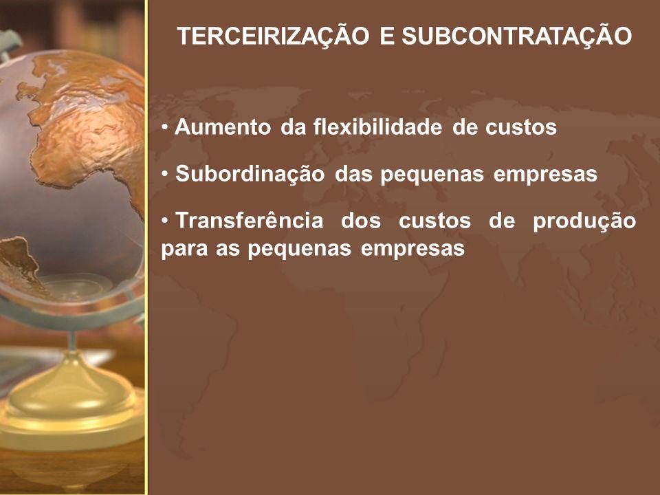 TERCEIRIZAÇÃO E SUBCONTRATAÇÃO Aumento da flexibilidade de custos Subordinação das pequenas empresas Transferência dos custos de produção para as pequ