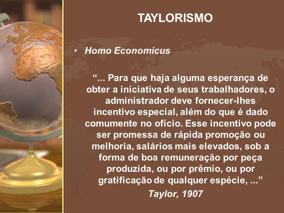 Homo Economicus... Para que haja alguma esperança de obter a iniciativa de seus trabalhadores, o administrador deve fornecer-lhes incentivo especial,
