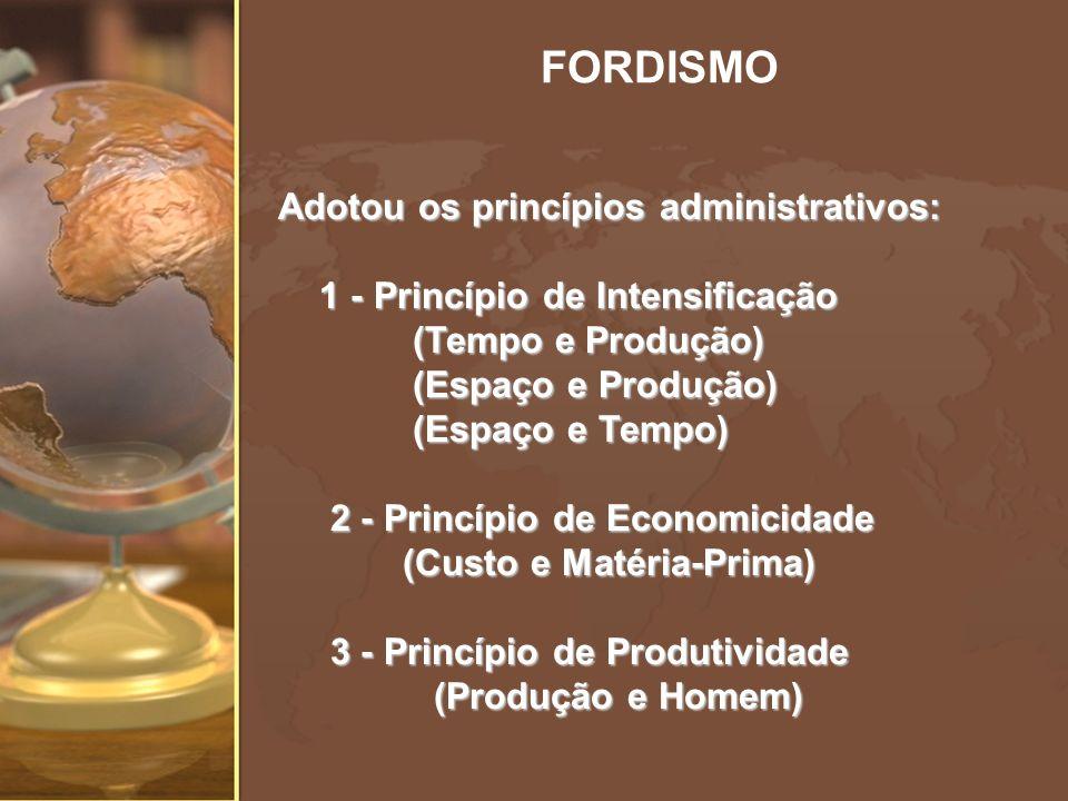 Adotou os princípios administrativos: 1 - Princípio de Intensificação 1 - Princípio de Intensificação (Tempo e Produção) (Tempo e Produção) (Espaço e