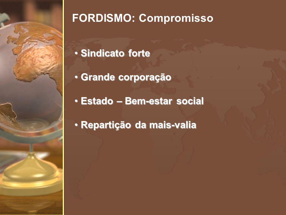 FORDISMO: Compromisso Sindicato forte Sindicato forte Grande corporação Grande corporação Estado – Bem-estar social Estado – Bem-estar social Repartiç