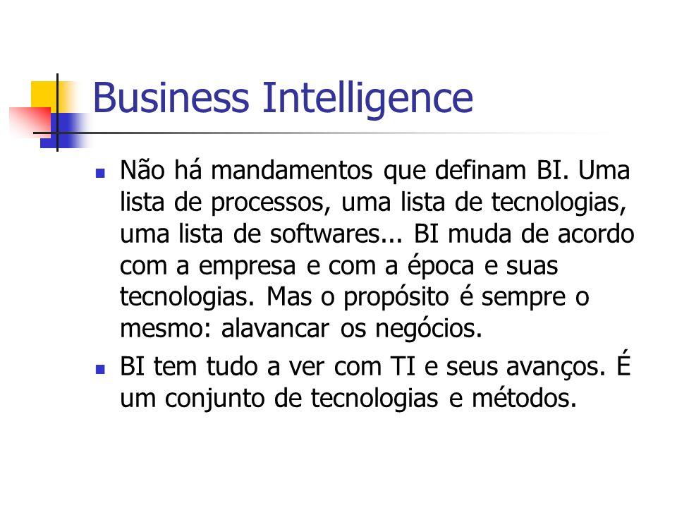 Business Intelligence Não há mandamentos que definam BI.