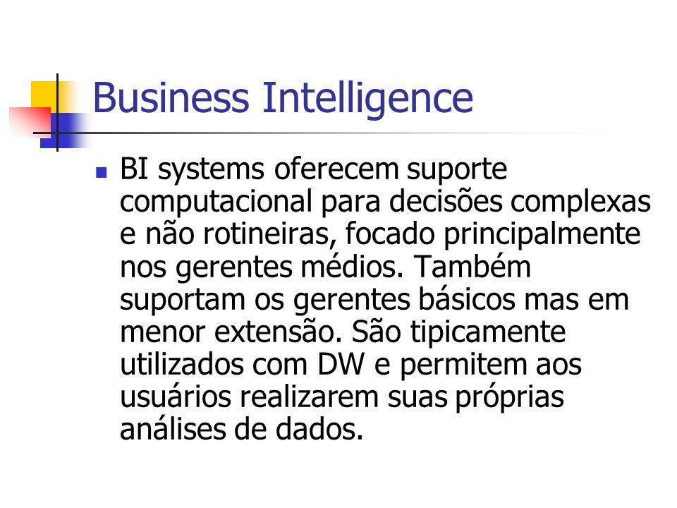Business Intelligence BI systems oferecem suporte computacional para decisões complexas e não rotineiras, focado principalmente nos gerentes médios.