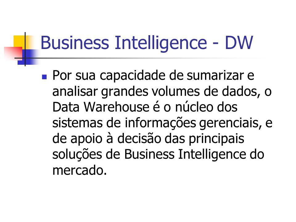 Business Intelligence - DW Por sua capacidade de sumarizar e analisar grandes volumes de dados, o Data Warehouse é o núcleo dos sistemas de informações gerenciais, e de apoio à decisão das principais soluções de Business Intelligence do mercado.