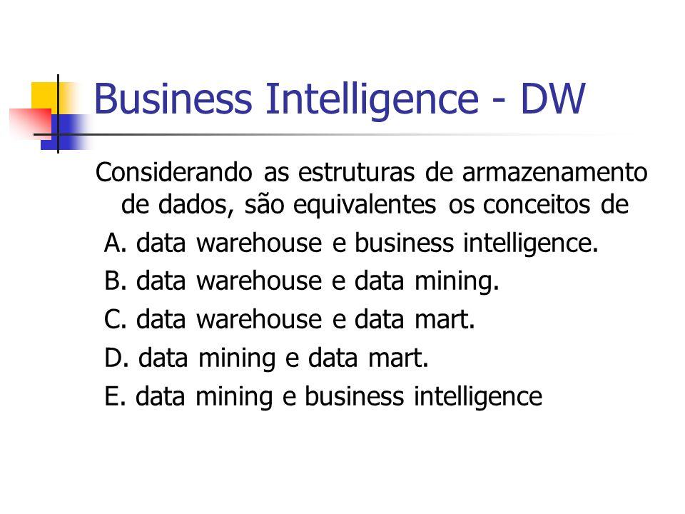 Business Intelligence - DW Considerando as estruturas de armazenamento de dados, são equivalentes os conceitos de A.