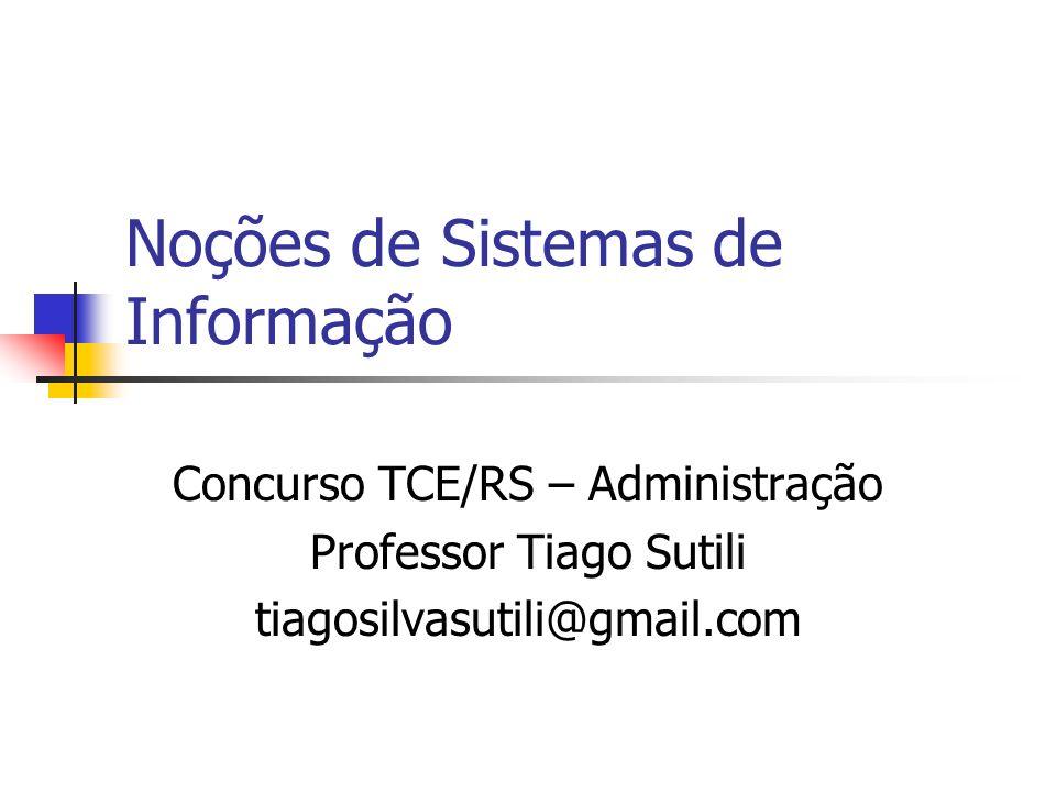 Noções de Sistemas de Informação Concurso TCE/RS – Administração Professor Tiago Sutili tiagosilvasutili@gmail.com