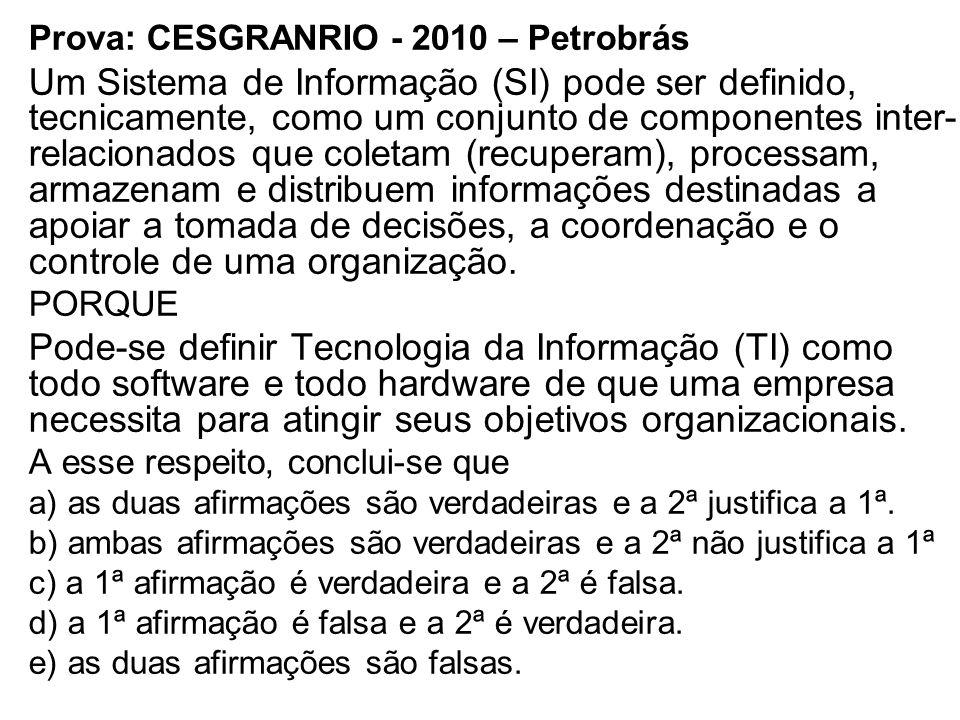 Prova: CESGRANRIO - 2010 – Petrobrás Um Sistema de Informação (SI) pode ser definido, tecnicamente, como um conjunto de componentes inter- relacionado