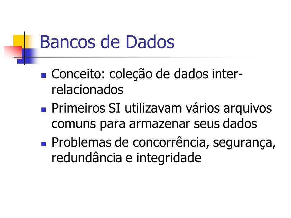 Bancos de Dados Conceito: coleção de dados inter- relacionados Primeiros SI utilizavam vários arquivos comuns para armazenar seus dados Problemas de c