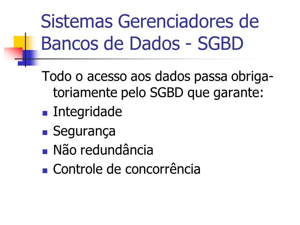Sistemas Gerenciadores de Bancos de Dados - SGBD Todo o acesso aos dados passa obriga- toriamente pelo SGBD que garante: Integridade Segurança Não red