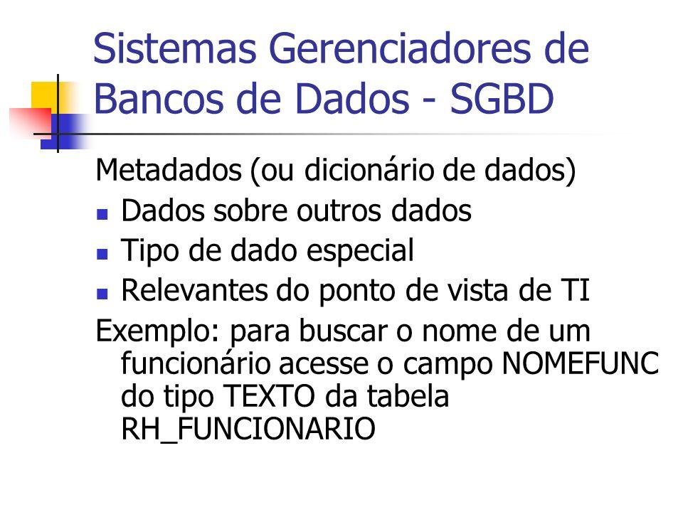 Sistemas Gerenciadores de Bancos de Dados - SGBD Metadados (ou dicionário de dados) Dados sobre outros dados Tipo de dado especial Relevantes do ponto