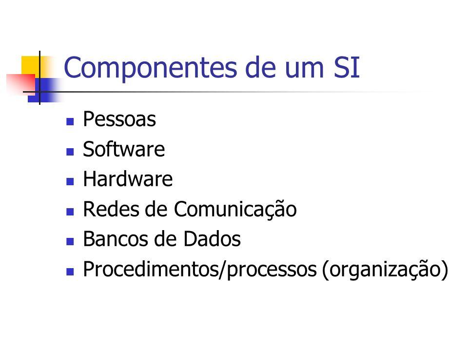 Componentes de um SI Pessoas Software Hardware Redes de Comunicação Bancos de Dados Procedimentos/processos (organização)
