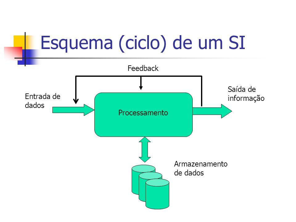 Esquema (ciclo) de um SI Processamento Entrada de dados Saída de informação Armazenamento de dados Feedback