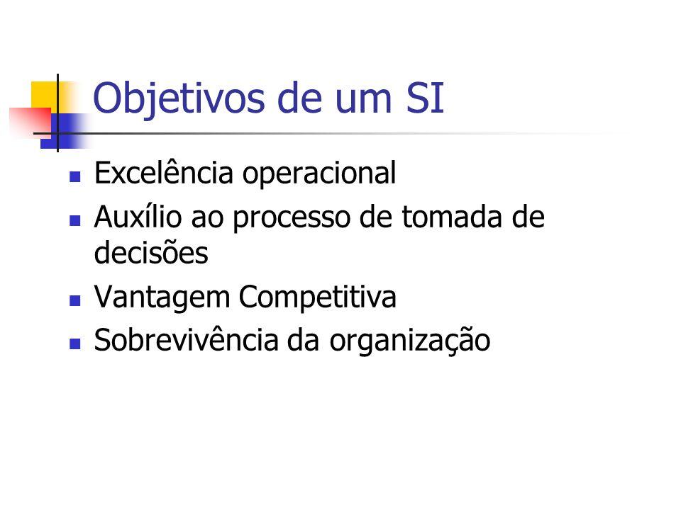 Objetivos de um SI Excelência operacional Auxílio ao processo de tomada de decisões Vantagem Competitiva Sobrevivência da organização