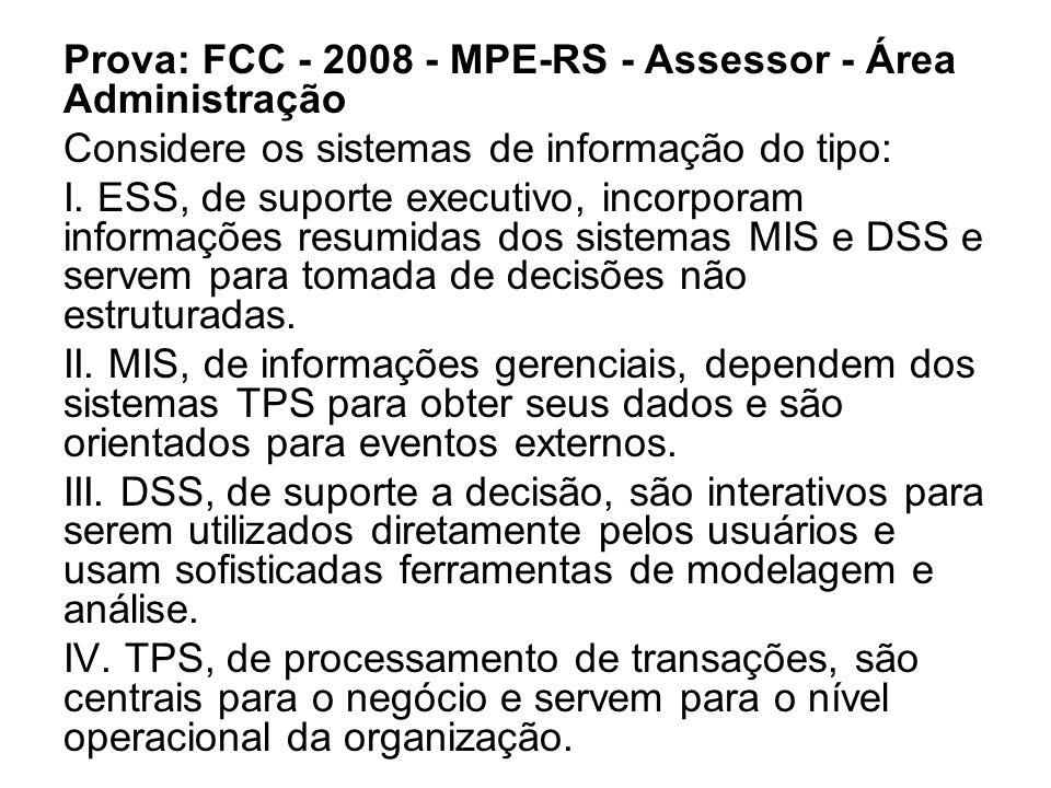 Prova: FCC - 2008 - MPE-RS - Assessor - Área Administração Considere os sistemas de informação do tipo: I.