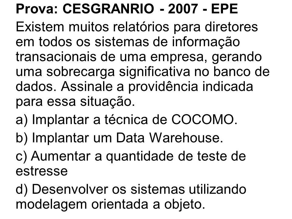 Prova: CESGRANRIO - 2007 - EPE Existem muitos relatórios para diretores em todos os sistemas de informação transacionais de uma empresa, gerando uma sobrecarga significativa no banco de dados.
