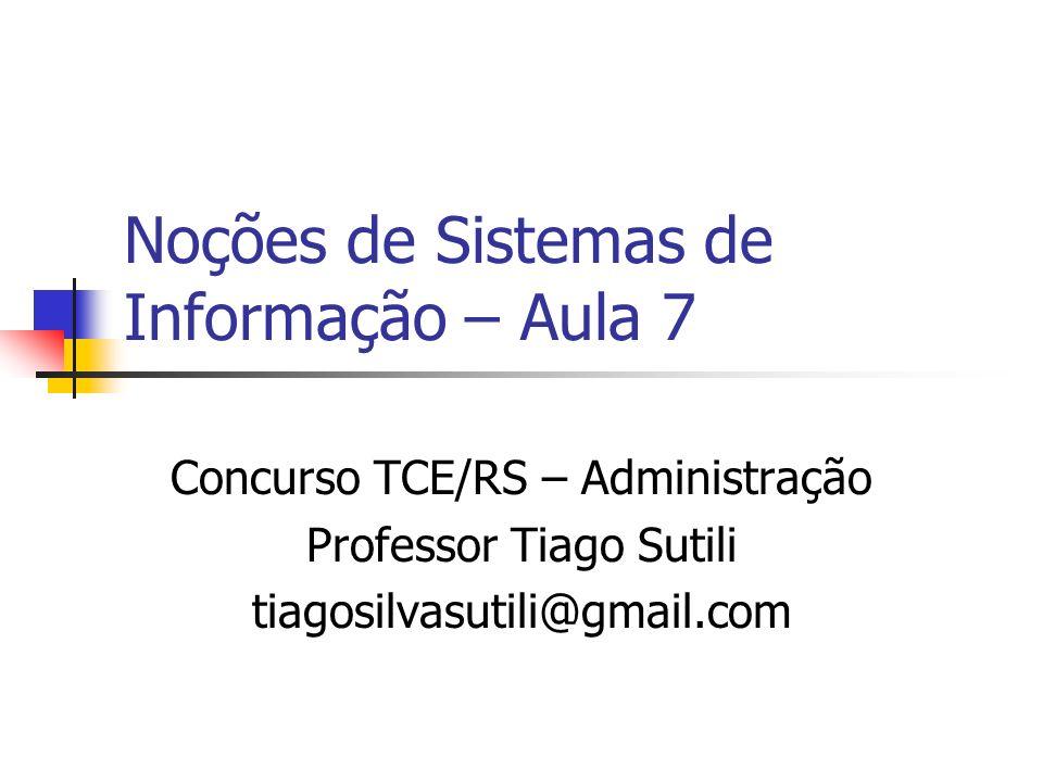 Noções de Sistemas de Informação – Aula 7 Concurso TCE/RS – Administração Professor Tiago Sutili tiagosilvasutili@gmail.com