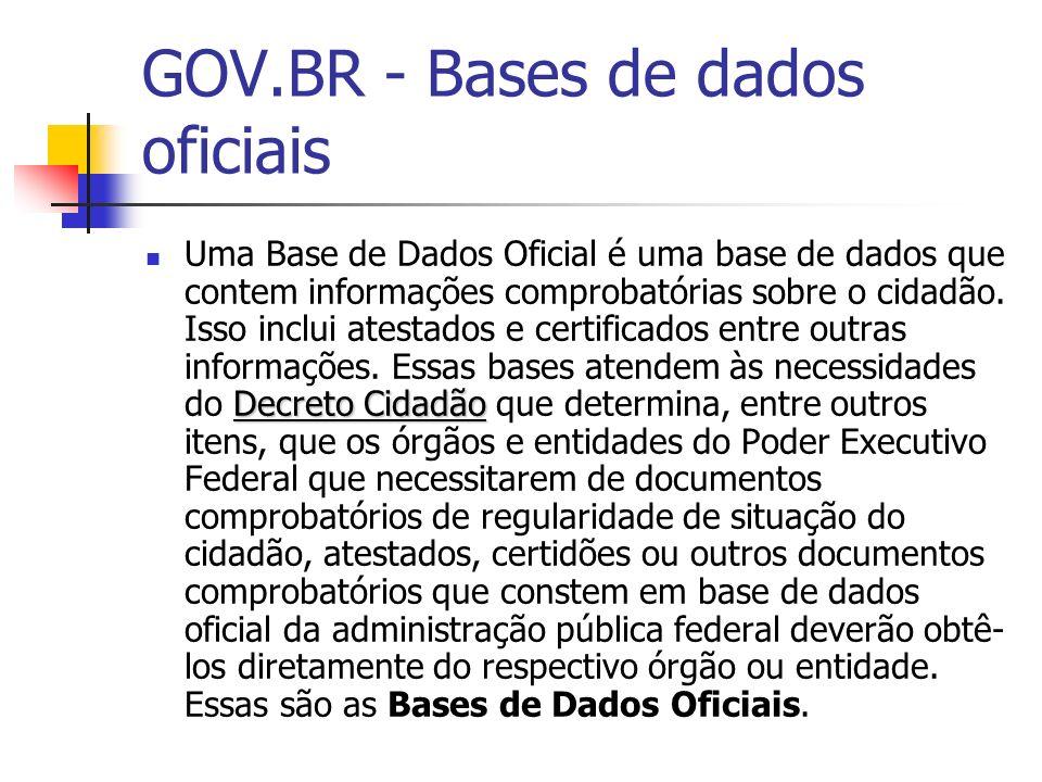 GOV.BR - Bases de dados oficiais Decreto Cidadão Uma Base de Dados Oficial é uma base de dados que contem informações comprobatórias sobre o cidadão.