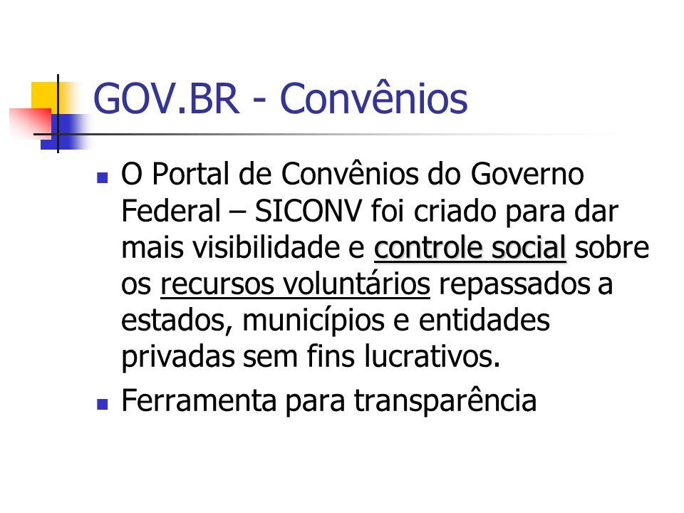 GOV.BR - Convênios controle social O Portal de Convênios do Governo Federal – SICONV foi criado para dar mais visibilidade e controle social sobre os
