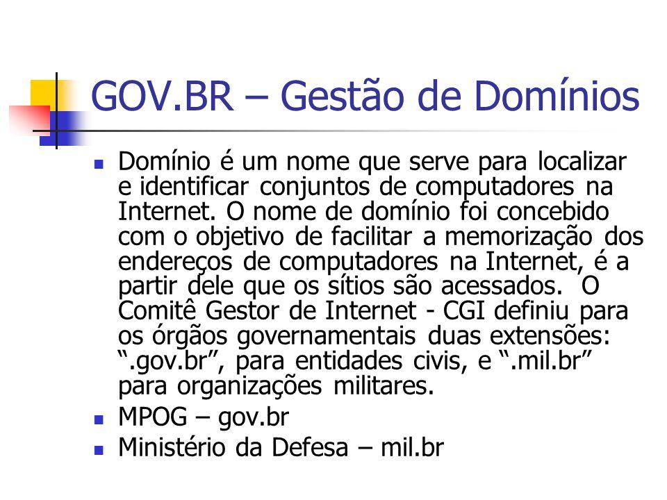 GOV.BR – Gestão de Domínios Domínio é um nome que serve para localizar e identificar conjuntos de computadores na Internet. O nome de domínio foi conc