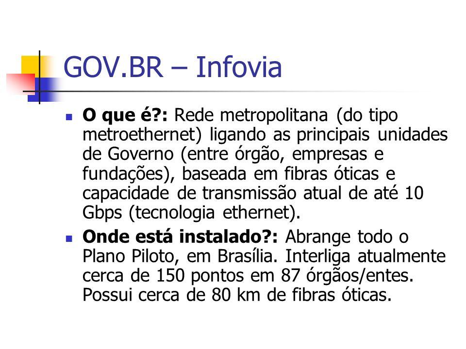 GOV.BR – Infovia O que é?: Rede metropolitana (do tipo metroethernet) ligando as principais unidades de Governo (entre órgão, empresas e fundações), b