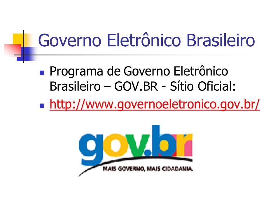 Governo Eletrônico Brasileiro Programa de Governo Eletrônico Brasileiro – GOV.BR - Sítio Oficial: http://www.governoeletronico.gov.br/