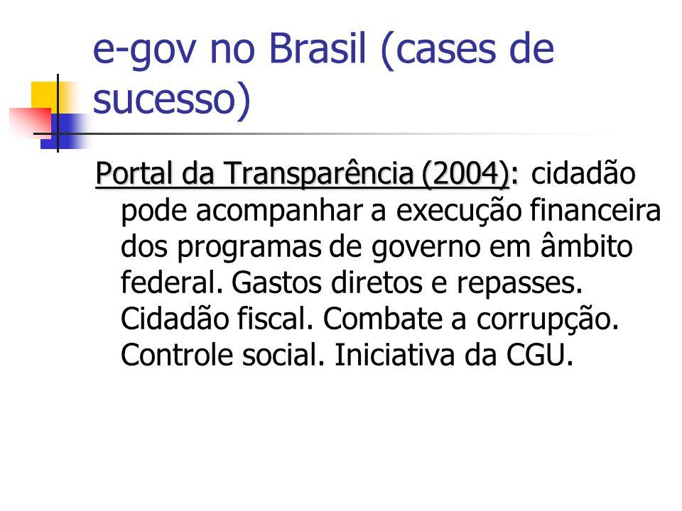 e-gov no Brasil (cases de sucesso) Portal da Transparência (2004): Portal da Transparência (2004): cidadão pode acompanhar a execução financeira dos p