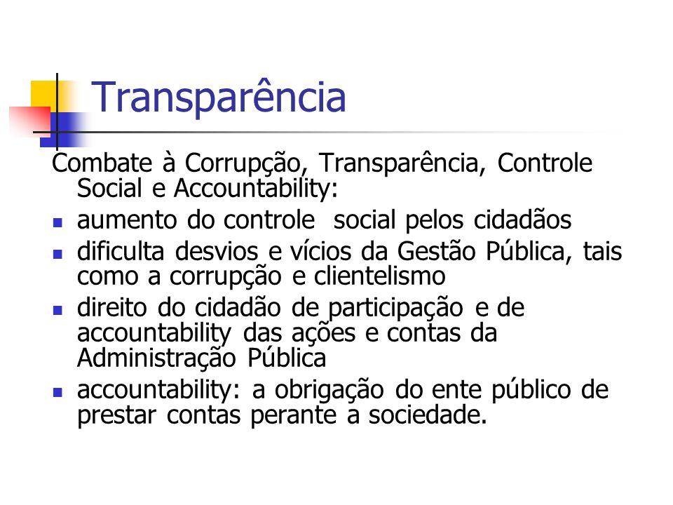 Transparência Combate à Corrupção, Transparência, Controle Social e Accountability: aumento do controle social pelos cidadãos dificulta desvios e víci