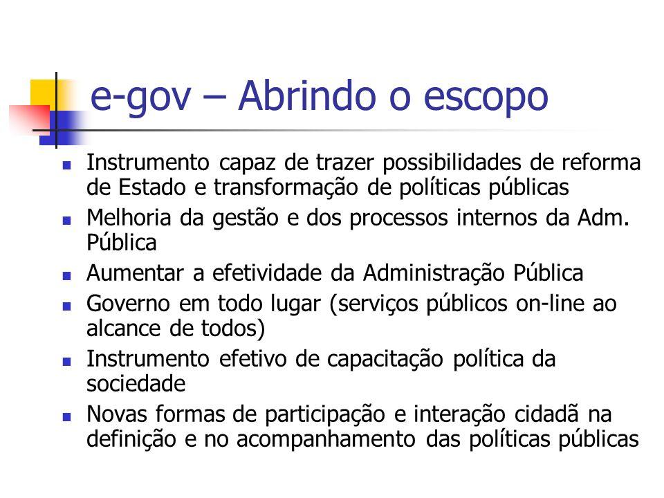 e-gov – Abrindo o escopo Instrumento capaz de trazer possibilidades de reforma de Estado e transformação de políticas públicas Melhoria da gestão e do