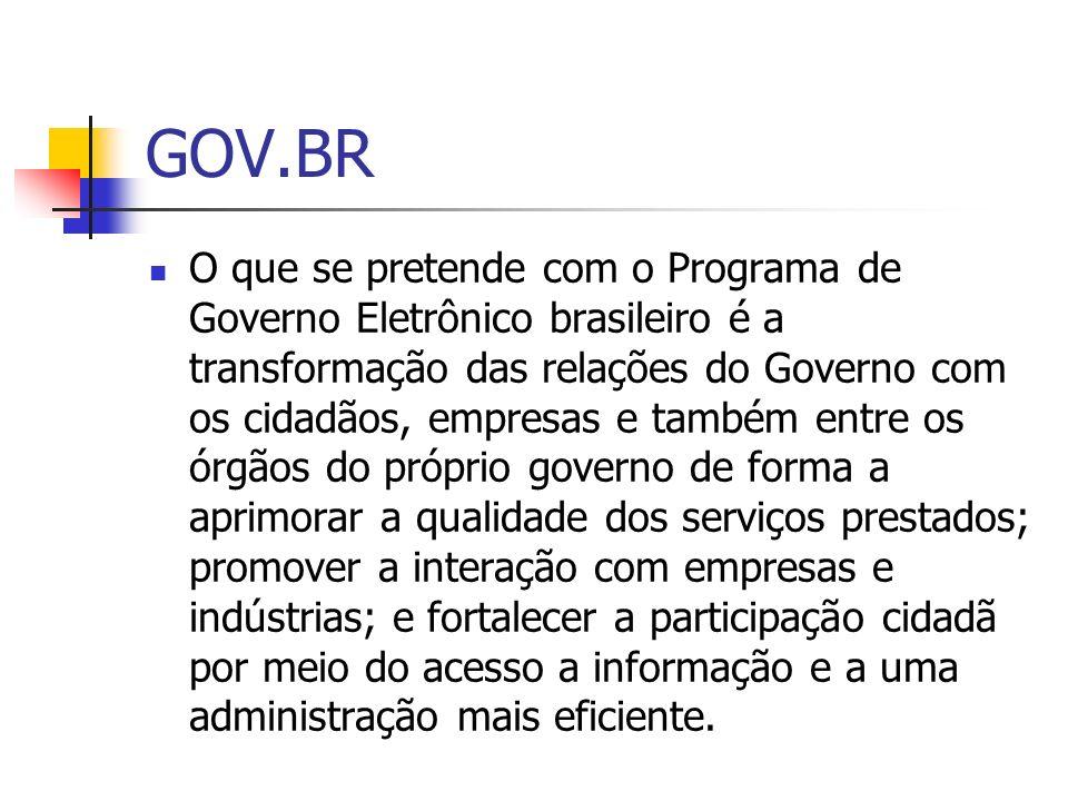GOV.BR O que se pretende com o Programa de Governo Eletrônico brasileiro é a transformação das relações do Governo com os cidadãos, empresas e também