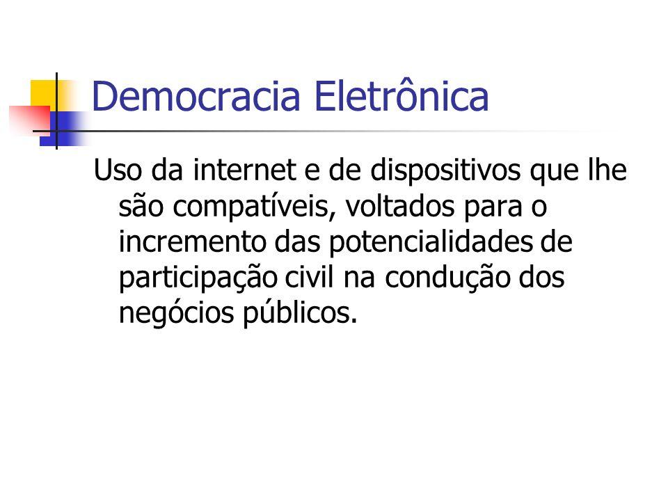 Democracia Eletrônica Uso da internet e de dispositivos que lhe são compatíveis, voltados para o incremento das potencialidades de participação civil