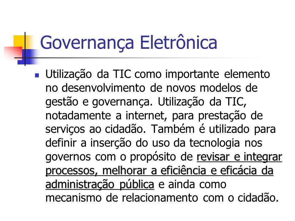 Governança Eletrônica revisar e integrar processos, melhorar a eficiência e eficácia da administração pública Utilização da TIC como importante elemen
