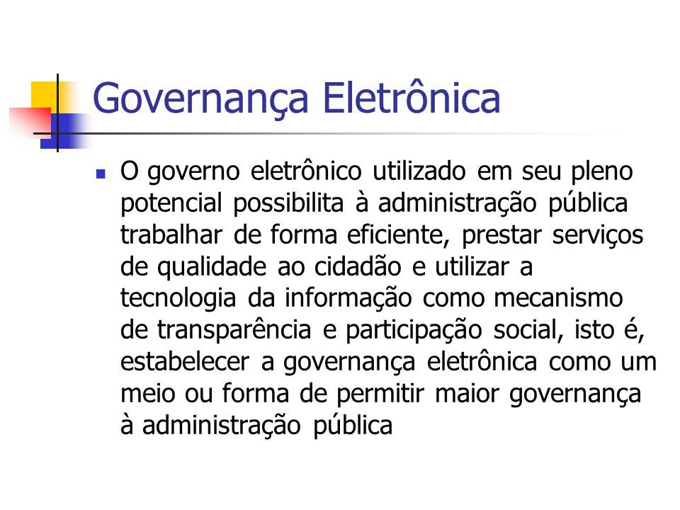 Governança Eletrônica O governo eletrônico utilizado em seu pleno potencial possibilita à administração pública trabalhar de forma eficiente, prestar