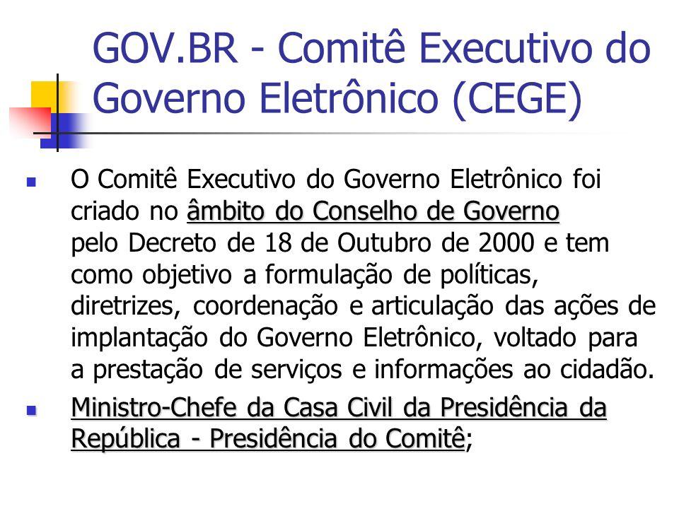 GOV.BR - Comitê Executivo do Governo Eletrônico (CEGE) âmbito do Conselho de Governo O Comitê Executivo do Governo Eletrônico foi criado no âmbito do