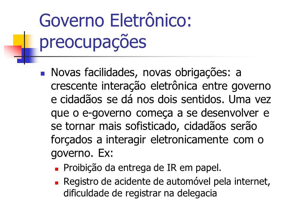 Governo Eletrônico: preocupações Novas facilidades, novas obrigações: a crescente interação eletrônica entre governo e cidadãos se dá nos dois sentido