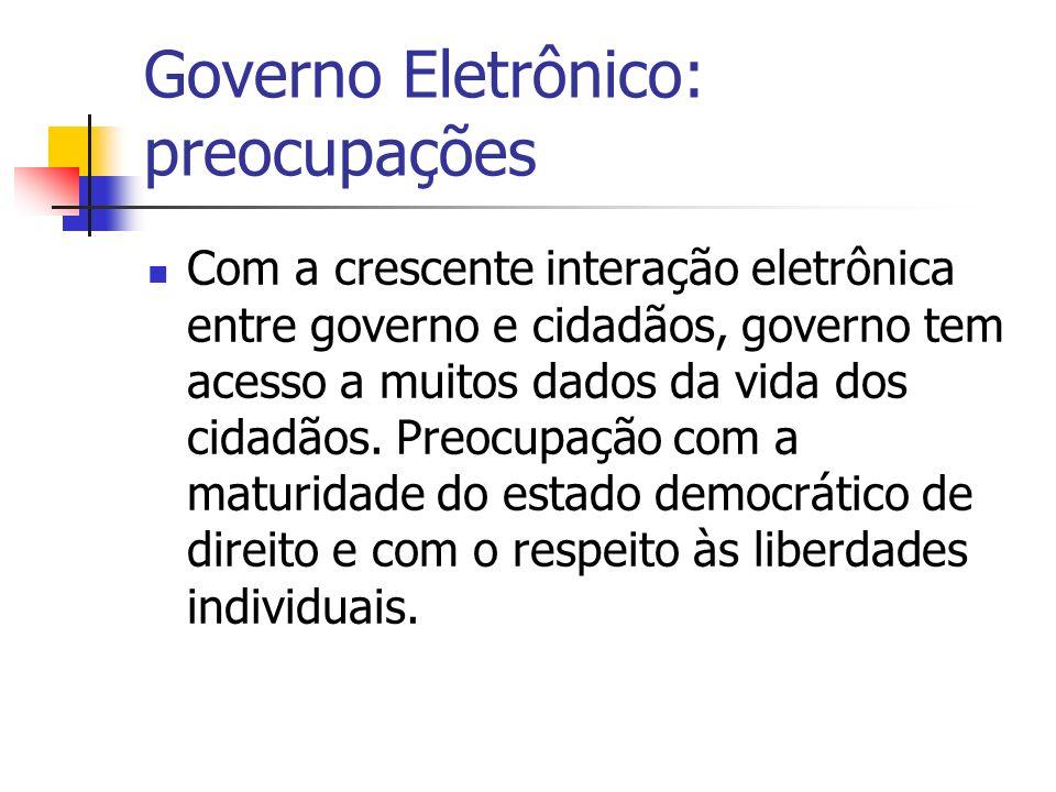 Governo Eletrônico: preocupações Com a crescente interação eletrônica entre governo e cidadãos, governo tem acesso a muitos dados da vida dos cidadãos