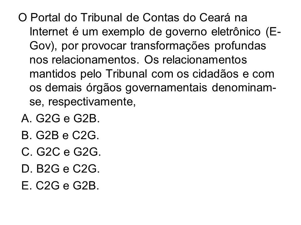 O Portal do Tribunal de Contas do Ceará na Internet é um exemplo de governo eletrônico (E- Gov), por provocar transformações profundas nos relacioname