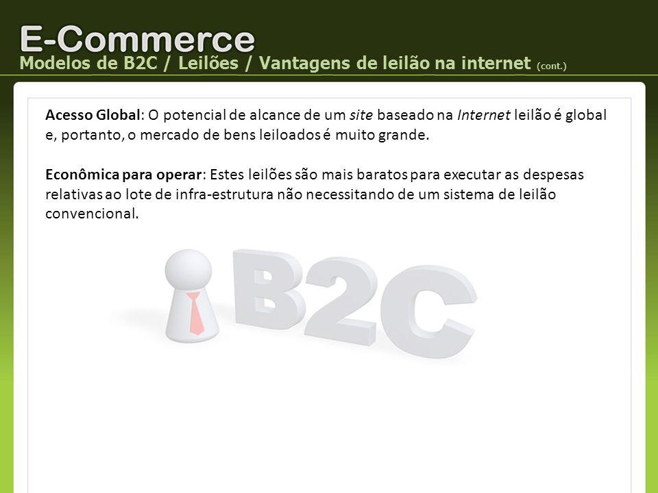 Modelos de B2C / Leilões / Vantagens de leilão na internet (cont.) Acesso Global: O potencial de alcance de um site baseado na Internet leilão é globa
