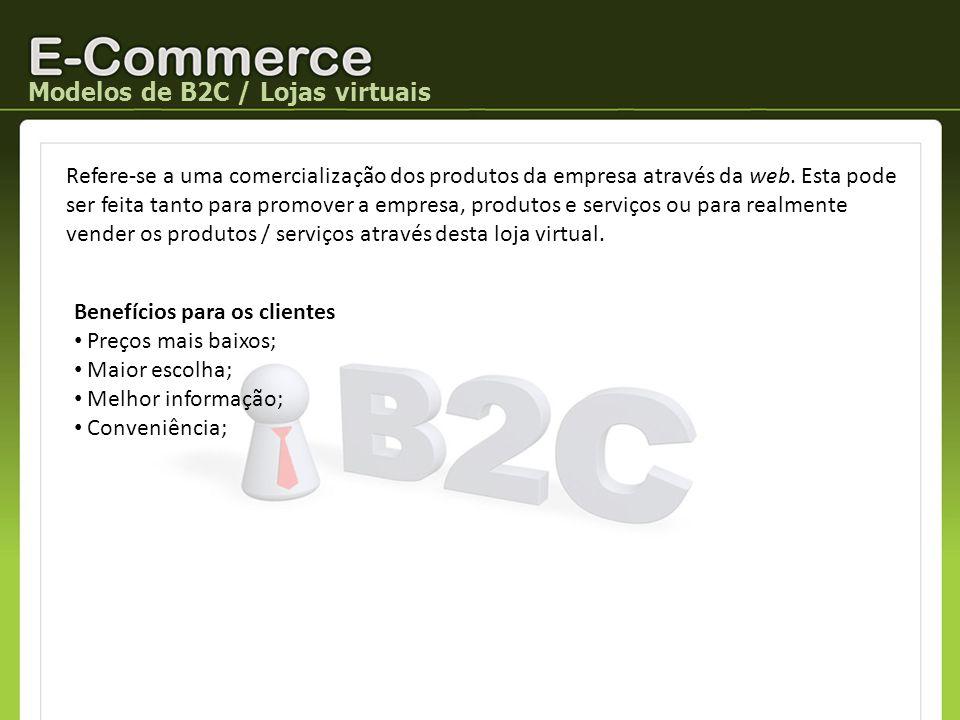 Modelos de B2C / Lojas virtuais Refere-se a uma comercialização dos produtos da empresa através da web. Esta pode ser feita tanto para promover a empr