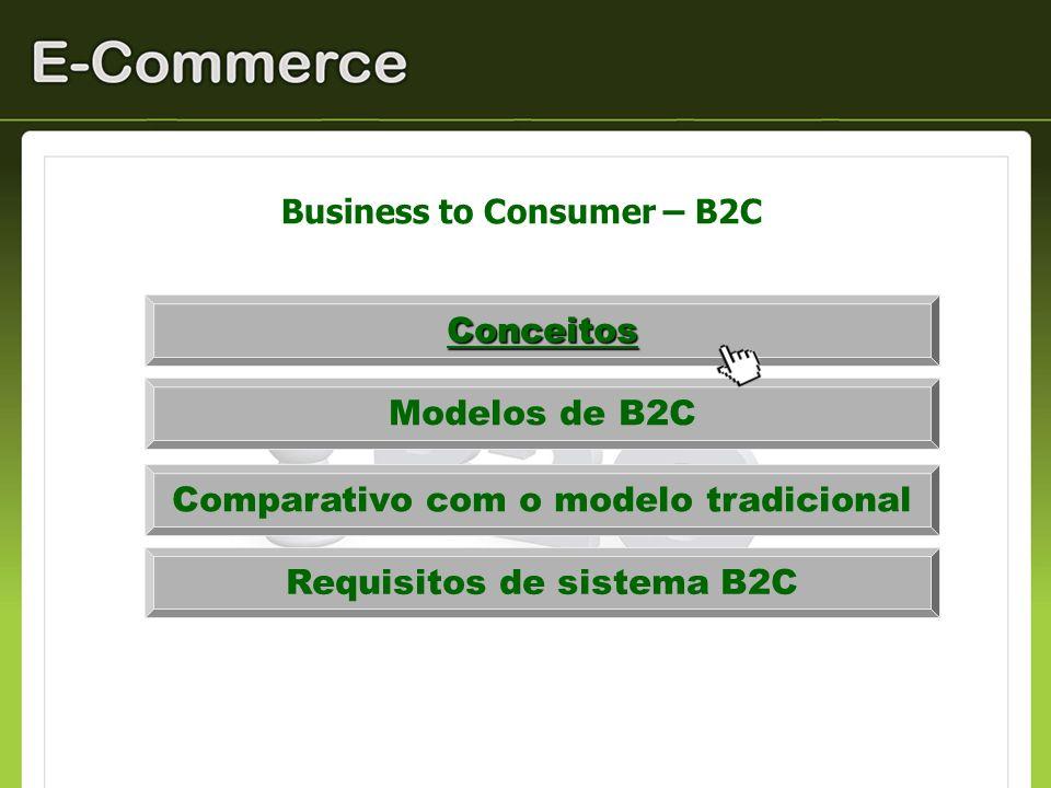Business to Consumer – B2C / Definição É uma das modalidades de comercialização eletrônica que pode ser considerada como o varejo eletrônico.