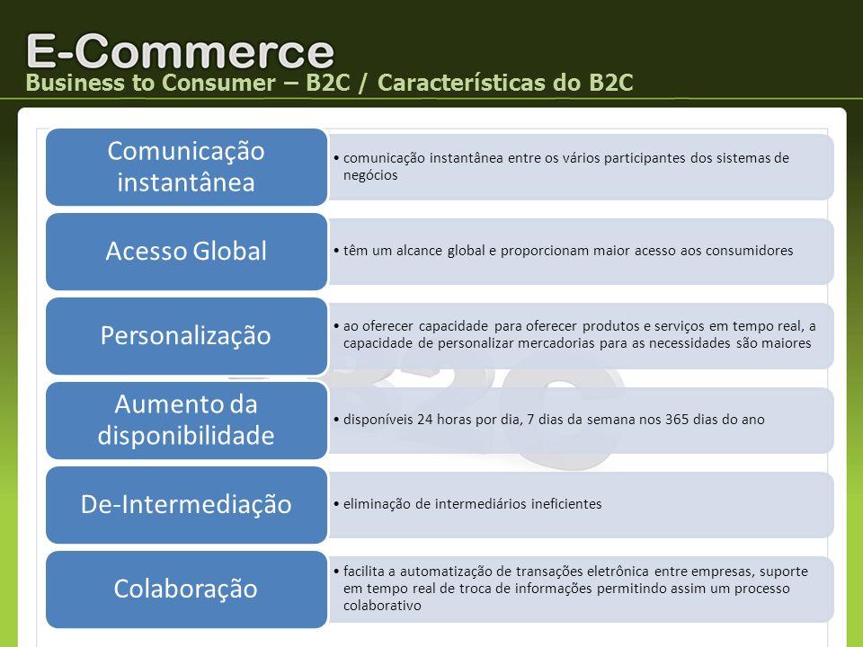Business to Consumer – B2C / Características do B2C comunicação instantânea entre os vários participantes dos sistemas de negócios Comunicação instant