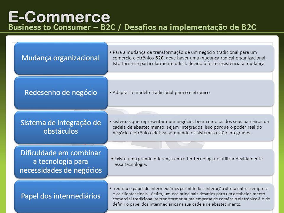 Business to Consumer – B2C / Desafios na implementação de B2C Para a mudança da transformação de um negócio tradicional para um comércio eletrônico B2